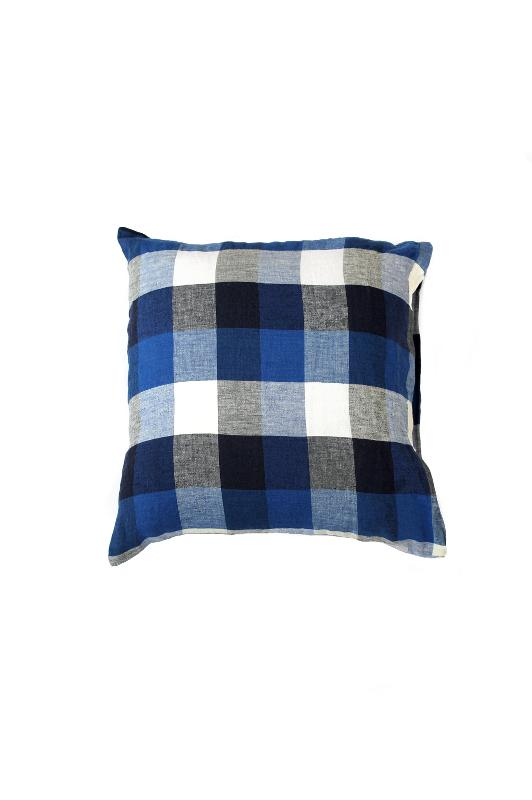 Square linen pillowcase blue