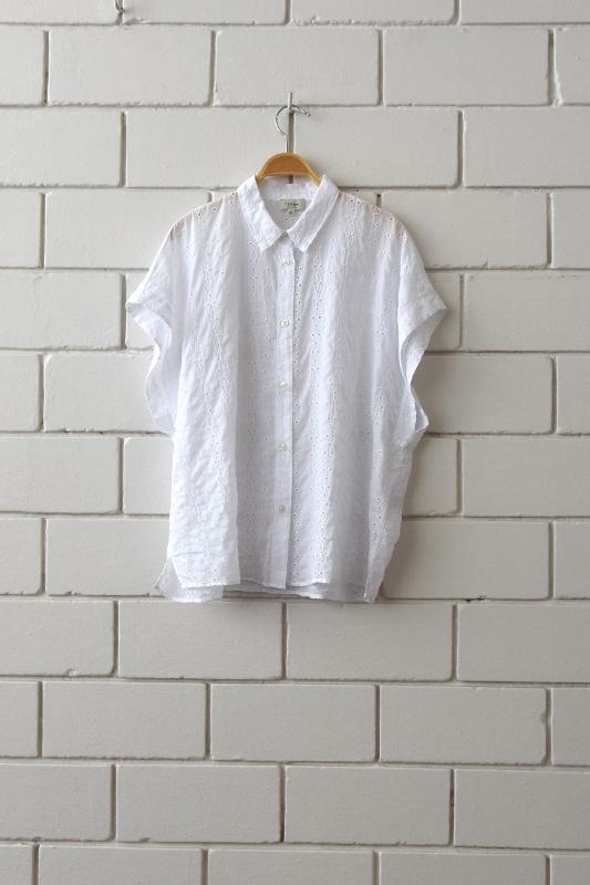 Shirt with broderie anglaise